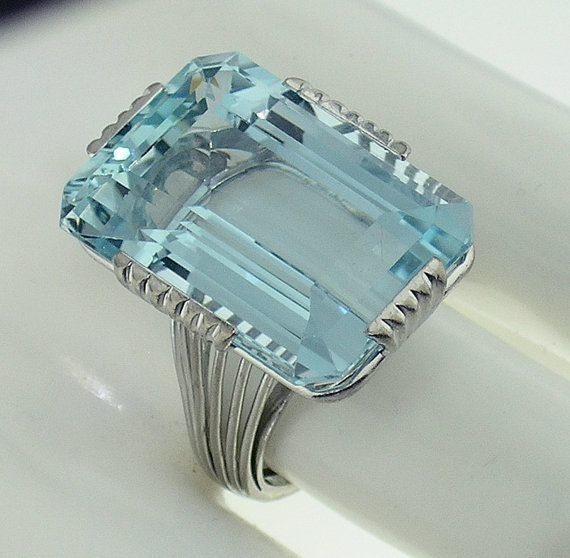 1930s art deco 40ct aquamarine ring.
