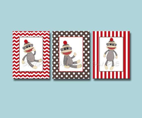 Sock Monkey Art Set of 3 8x10 Art Prints  Sock Monkey Nursery Artwork on Etsy, $16.50