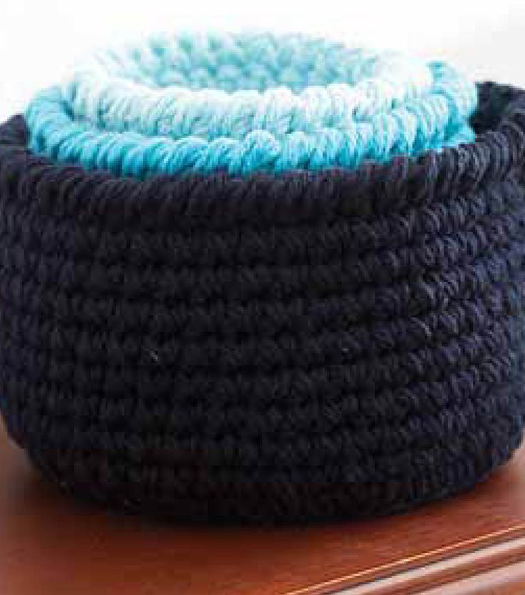 Crochet round baskets in all sizes for a variety of storage solutions with this Free Crochet pattern for round storage baskets