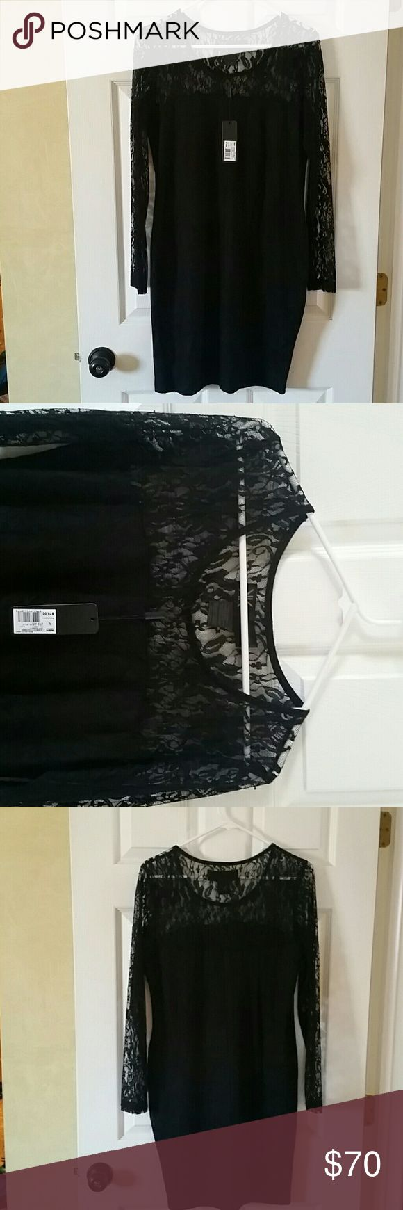 Dress Black Kim Kardashian Kollection size large lace dress long sleeve very sexy kim kardashian Dresses Midi