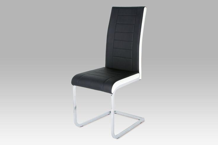 DCL-499 BK Moderní jídelní židle v kombinaci černé a bílé koženky na pochromované pohupové podnoži. Sedák s opěrákem je dekorativně prošitý. Velmi oblíbená židle vhodná do jídelny nebo kuchyně.