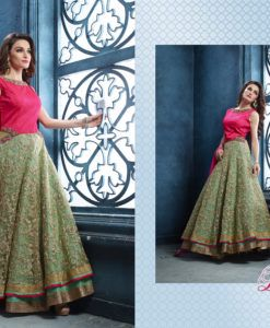 Dress up in this traditional yet contemporary green softnet lehenga. Blouse for the lehenga is embellished with all over mirror work & sequins.