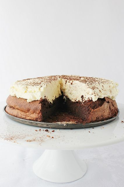 gluten free chocOlate cloud cake with vanilla cream frosting