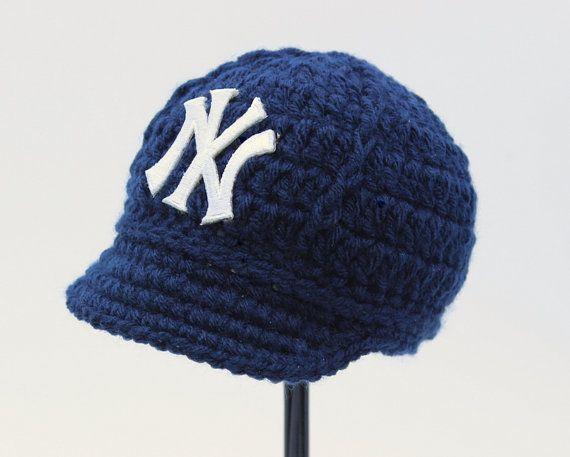 Baby Yankees Cap - Hat - Knitted / Crochet - Baby Gift / Newborn - New York Yankees - Photo Photography Prop - Baseball on Etsy, $25.00