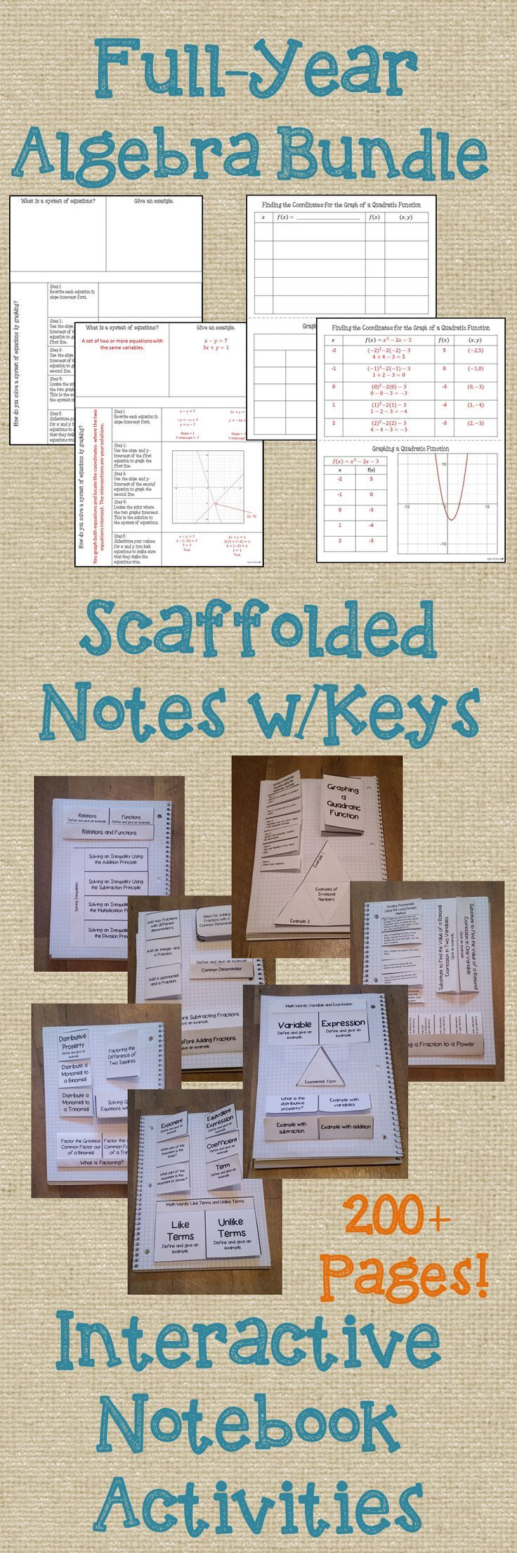 Full-Year Algebra Bundle - Interactive Notebook Activities & Scaffolded Notes w/Answer Keys. Includes: Operations on Integers; Variables, Terms, & Expressions; Introduction to Algebraic Equations; Introduction to Polynomials; Equations, Inequalities, & Functions; Adding & Subtracting Rational Expressions; Multiplying & Dividing Rational Expressions; Graphing Lines & Linear Inequalities; Systems of Equations; and Square Roots & Quadratic Functions. #algebra #inb
