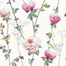 """York Wallcoverings Carey Lind Vibe Teahouse Removable 27' x 27"""" Floral Wallpaper You'll Love 