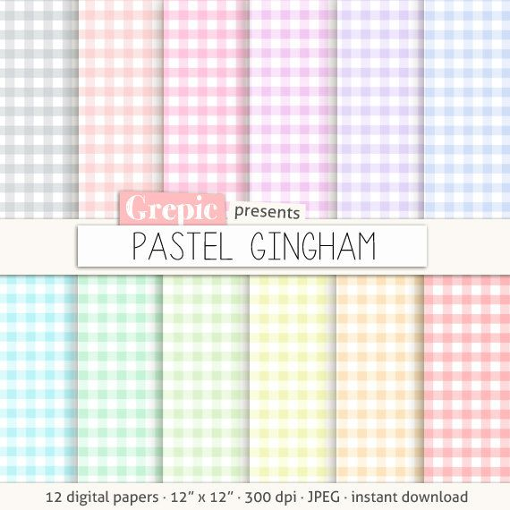 Gingham digital paper PASTEL GINGHAM checkered paper by Grepic  https://www.etsy.com/listing/154708046/gingham-digital-paper-pastel-gingham?ref=shop_home_active_10