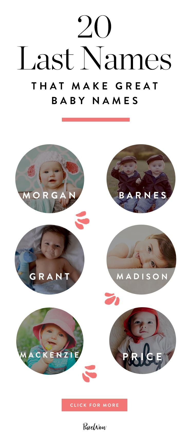 Whether you're bringing back an old family surname or passing on your own, there's something so cool about last names as first names. Here are 20 adorable surnames that make the best baby names.