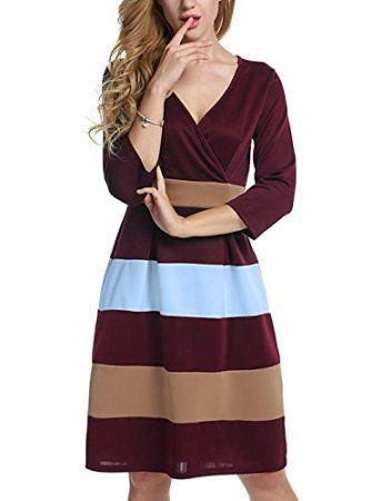 e15decbe38b2 Women s Block Color 3 4 Sleeve Fit-and-Flare Cross V-Neck MIDI Dress ...