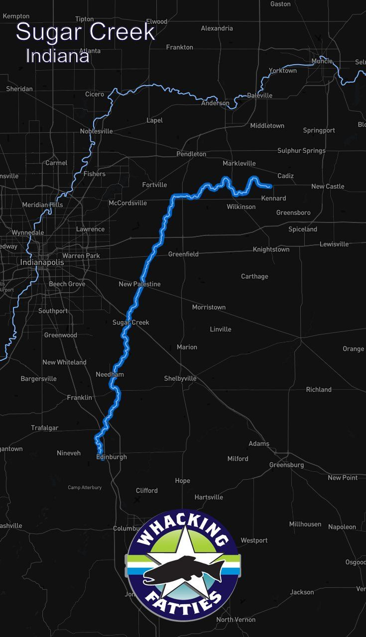 Sugar Creek, Indiana fly fishing report. Check out Whacking Fatties for the latest fly fishing report and forecast.  With the goal of better understanding fly-fishing patterns and predicting location and ferocity of fishable events, Whacking Fatties presents the Fatty Factor: a fly-fishing success estimation model using proprietary big data analytics.  We promote responsible fishing via catch and release practice and water resources conservation. Indianapolis, Fort Wayne, Evansville…