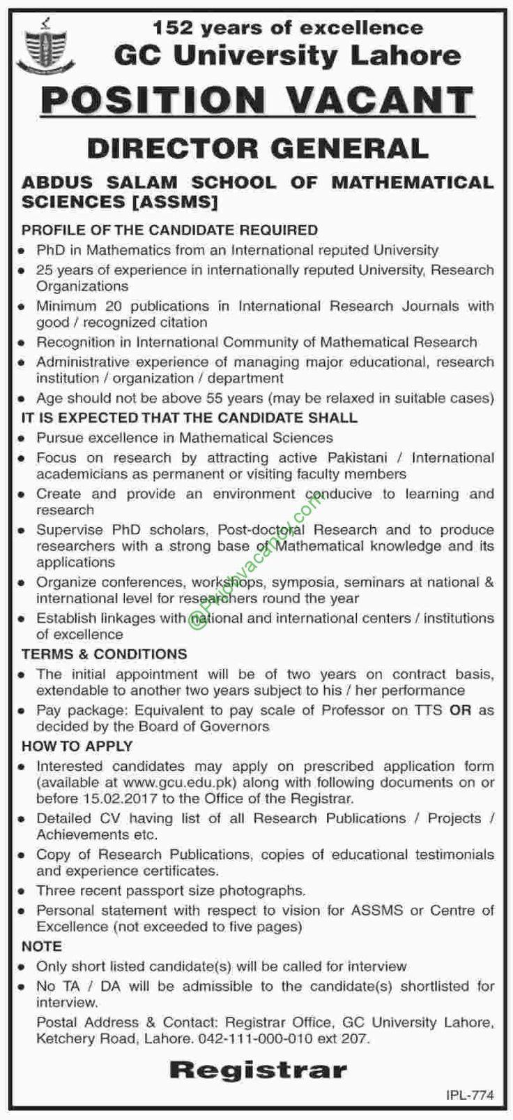 Abdus Salam School Of Mathematical Sciences ASSMS Jobs Dawn Newspaper 2017