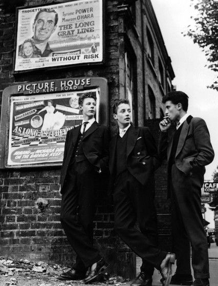 A group of Teddy boys hang around on the Old Kent Road at Elephant and Castle, South London, 13th July 1955.