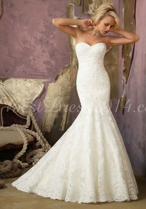 lace mermaid sweetheart sleeveless floor-length chapel train wedding dress - Bestdress2014.com