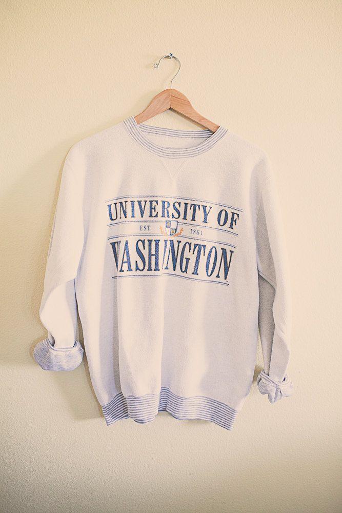 #UW #huskies #huskyfever #90's 80s College Sweatshirt University of Washington Huskies UW White  Sweatshirt Oversized Slouchy Comfy Size Large Printed inside out by 7CitiesVintage on Etsy