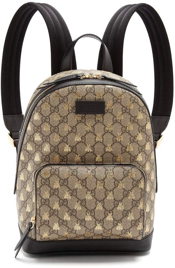 GUCCI GG Supreme bee-print backpack  designerbags   Beautiful ... b856a292f3d