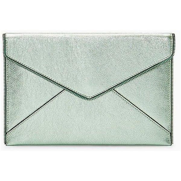 Rebecca Minkoff Leo Clutch ($95) ❤ liked on Polyvore featuring bags, handbags, clutches, mint, mint green purse, mint handbags, green purses, rebecca minkoff and green clutches