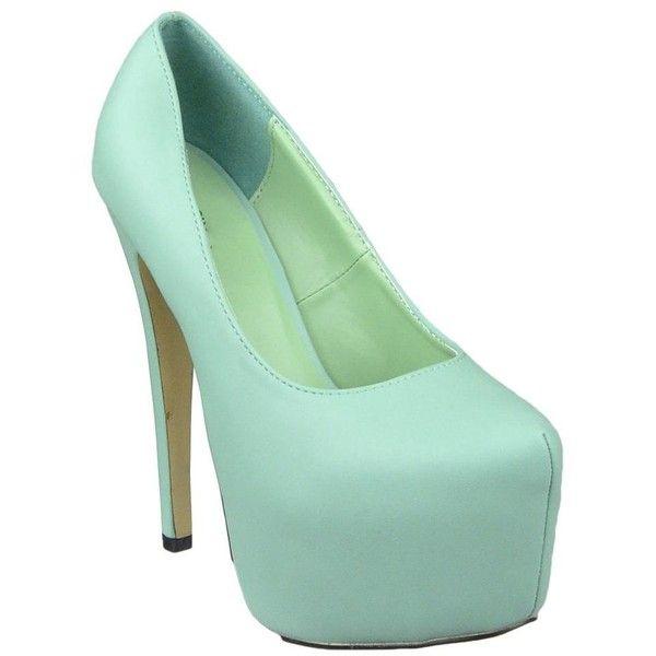 Womens Platform Shoes Faux Leather Stiletto Pumps Mint ($28) ❤ liked on Polyvore featuring shoes, pumps, mint green shoes, stilettos shoes, platform stilettos, mint green pumps and stiletto pumps