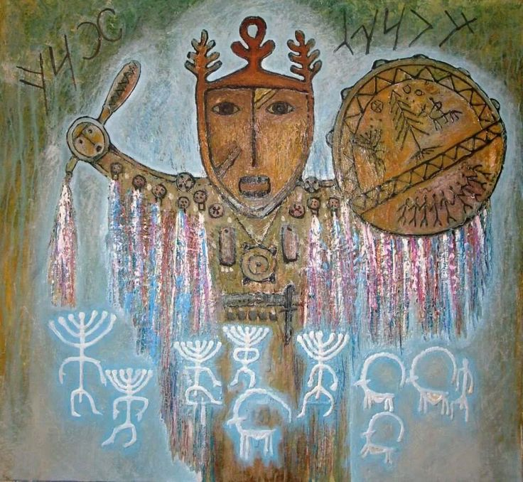 Hakassian shamanistic art. The turkic people of Siberia are not convert to any Religion.