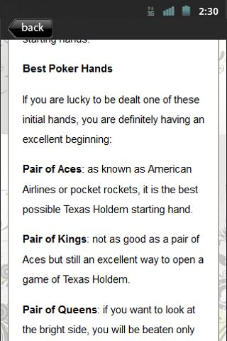 """Set of 35 """"How To Play Texas Holdem Poker"""" tips that includes<p>Pre-Flop Holdem<br>The Texas Holdem Poker Rule<br>Easy Steps in Playing Holdem Poker<br>Texas Holdem Poker Rules: Become the master of the game<br>Hold'em Poker Has It All<br>Understanding How Online Texas Holdem Poker Is Played<br>Texas Holdem Image And Poker Personality<br>Holding Your Own Texas Holdem Poker Game Card Party<br>Texas Holdem Poker: Lingo, Terms, And Table Language<br>A Quick and Easy Texas Holdem Poker Lesson…"""