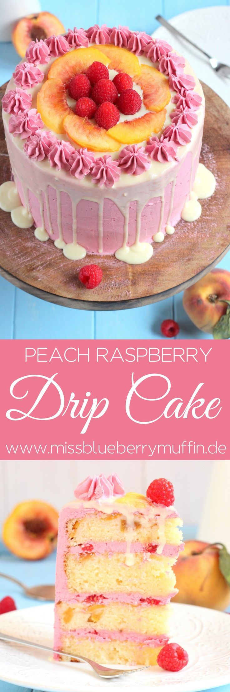Pfirsich Himbeer Torte // Peach Raspberry Drip Cake <3