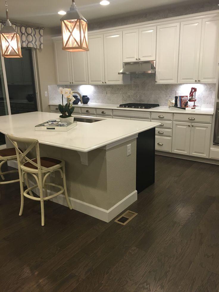 Beautiful Timberlake Rushmore Linen Cabinets, White Quartz Ctop U0026 Marble Backsplash