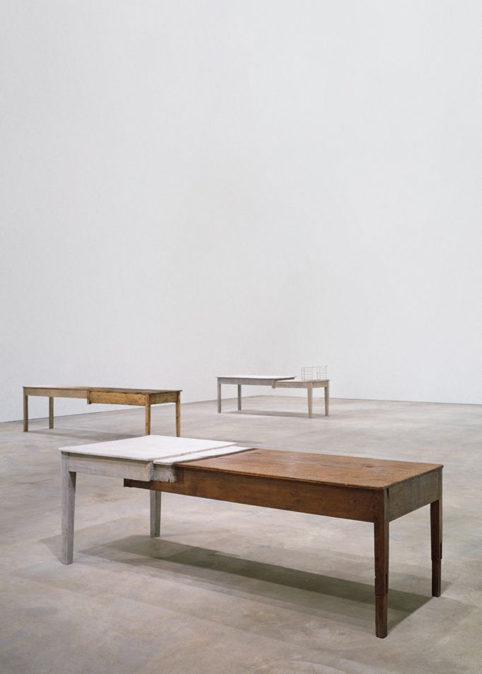 © Doris Salcedo. Unland: audible in the mouth, 1998 Wooden tables, silk, human hair, and thread 31 1/2 × 29 1/2 × 124 in. (80 × 75 × 315 cm) Tate: Presented by the Patrons of New Art through the Tate Gallery Foundation 1999 © Tate, London 2014