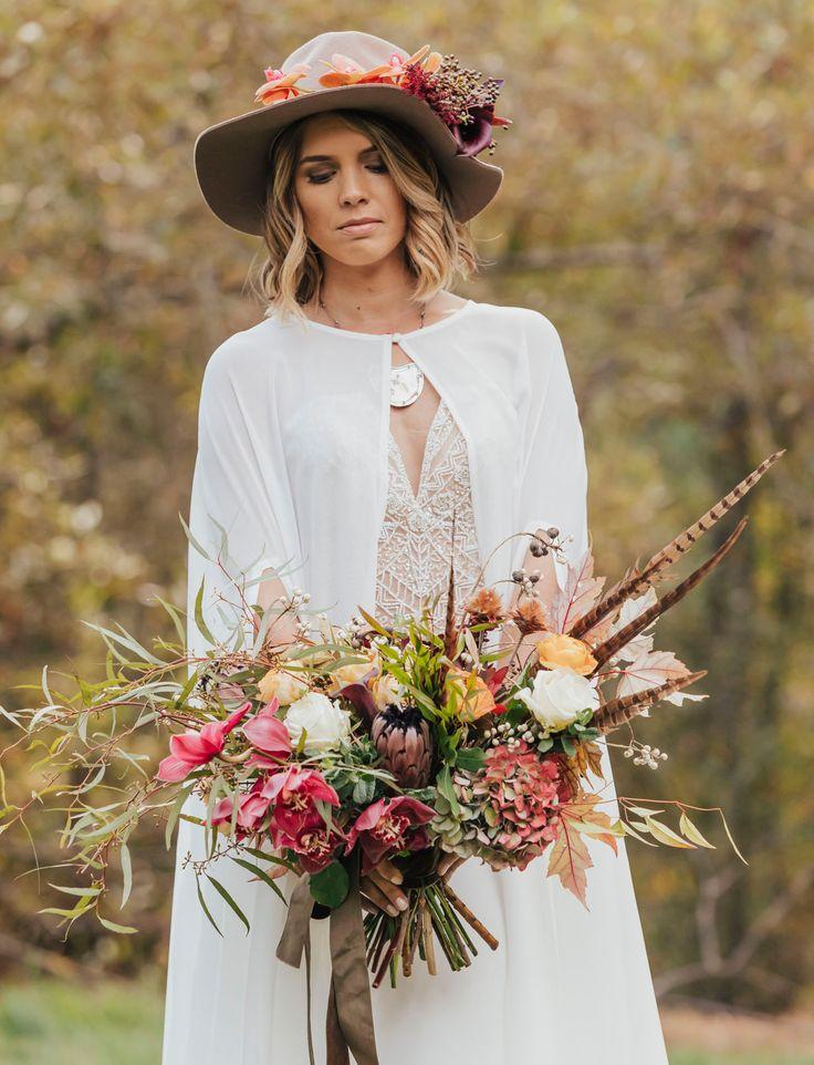 boho bride with wild fall bouquet     #bohobride #bohoweddingdress #bohobouquet #wildbouquet