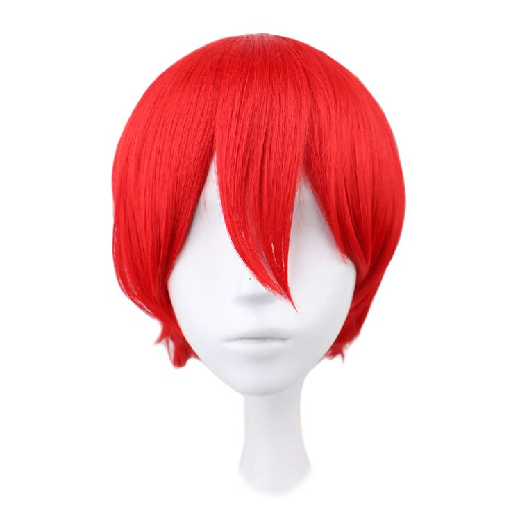 QQXCAIW Short Straight Anime Cosplay Men Party Red 32 Cm Synthetic Hair Wigs
