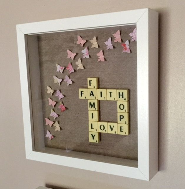 Box frame-25cm square frame. Frame can be white or black. Colours to order. Faith hope love family crossed over scrabble style. Made to order will take upto 2 weeks.