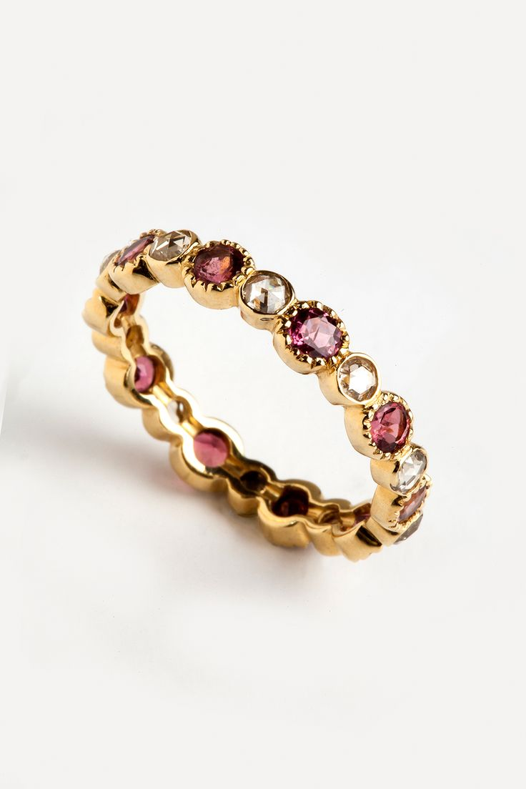 Hania Kuzbari Freestyle Collection // 18K yellow gold, brown diamond, pink tourmaline // http://haniakuzbari.com/freestyle.php