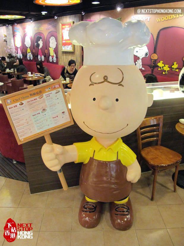Charlie Brown standing in Charlie Brown Café