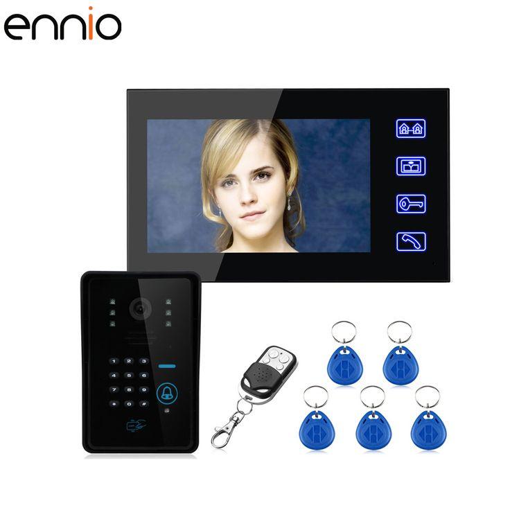 ENNIO 7'' color password access control card video intercom wireless doorbell remote control unlock HD 1000 video bell  #Affiliate