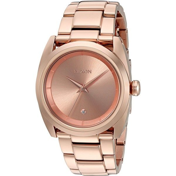 Nixon Women's 'Queenpin' Quartz Stainless Steel Automatic Watch,... (30965 ALL) ❤ liked on Polyvore featuring jewelry, watches, rose gold tone jewelry, snap jewelry, nixon wrist watch, rose gold tone watches and nixon watches