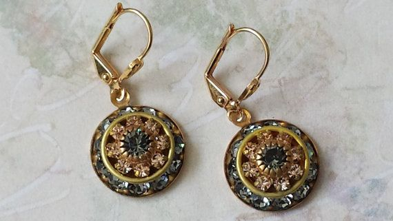 Black Diamond Ohrringe Crystal Strass Ohrringe von ArtistInJewelry