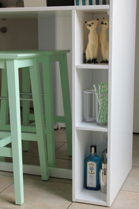 ikea bosse spray painted mint