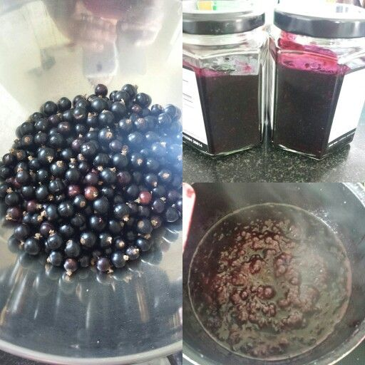 Nice morning making some homemade blackcurrant jam. From my Neighbours blackcurrant tree. Made 2 jars just enough for us two x