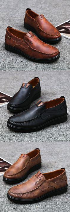 US$32.43 Men Large Size Retro Color Soft Sole Casual Driving Shoes#Driving Shoes#winterfashion