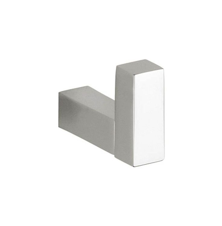 WS Bath Collections Quadra Simple 0960 Quadra Simple Single Bathroom Hook Polished Chrome Accessory Robe Hook Single Hook