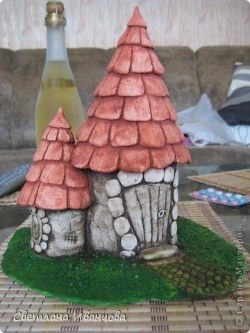 Мастер-класс Роспись: Обещанный МК покраски домиков Тесто соленое. Фото 8