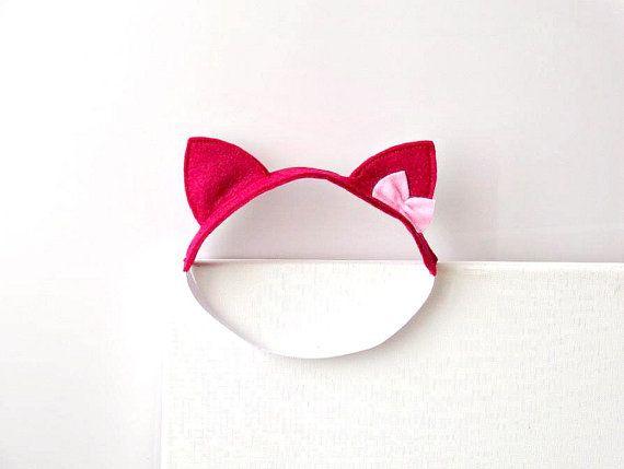 traje de halloween sintió Cat Ears diadema fucsia Costume Cat gatito rosa bebé kawaii del arco del pelo de Cosplay Neko linda