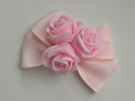 Pink Bow Hairclip With Roses  Lolita Kawaii by MadameMuffinStore