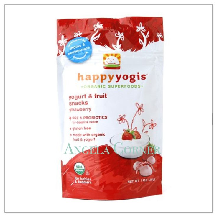 Happy Yogis Organic Super Puffs - Yogurt and Fruit Snacks Strawberry 1Oz(28gr)