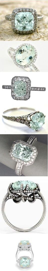 i really, really LOVE this color!Mint Green, Aquamarines Rings, Aquamarine Rings, Vintage Rings, Gorgeous Ring, Mint Diamond, Wedding Rings, Silver Rings, Engagement Rings