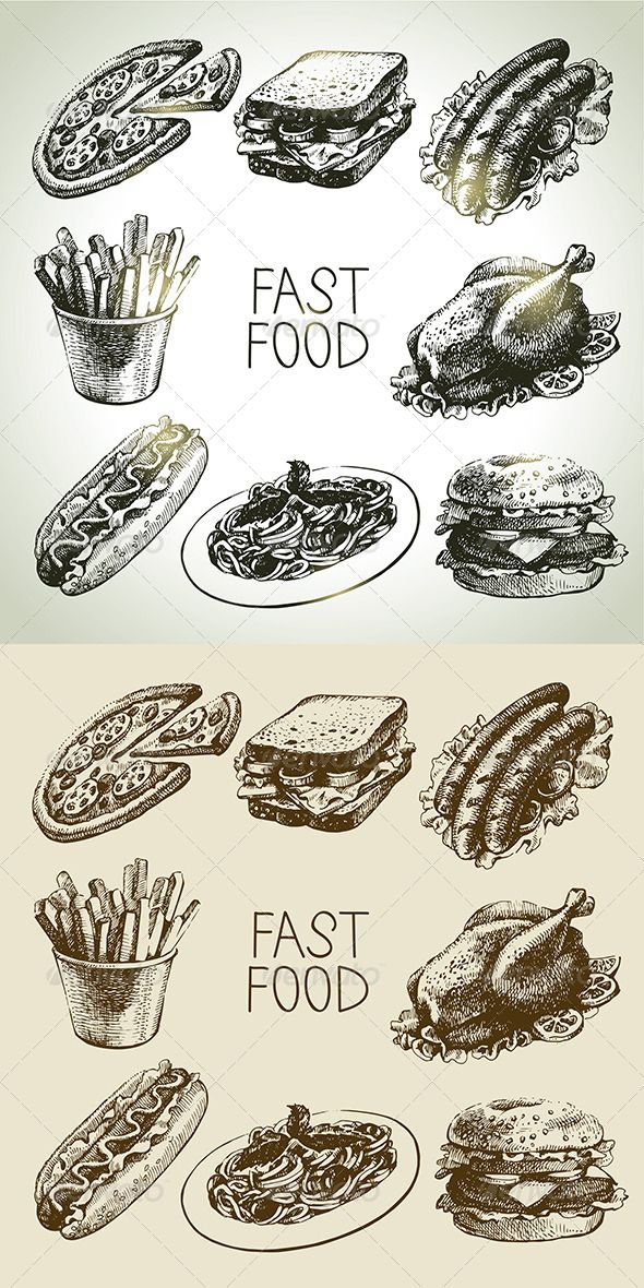 Fast Food Hand Drawn Set  #GraphicRiver         Set of hand drawn vintage fast food icons: grilled chicken, barbecue, pasta, hamburger, sandwich, pizza, hot dog, french fries.