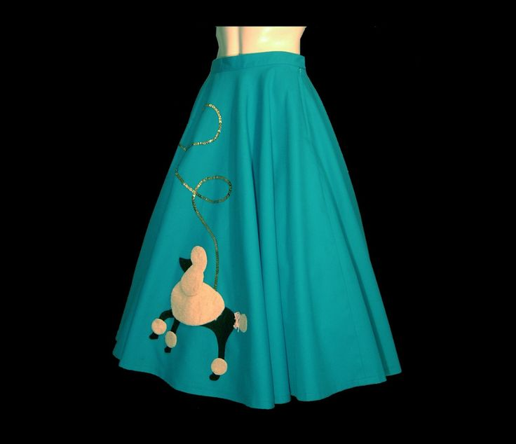 Blue Cotton Poodle Skirt Medium Large W31 Very By ForeverSexy