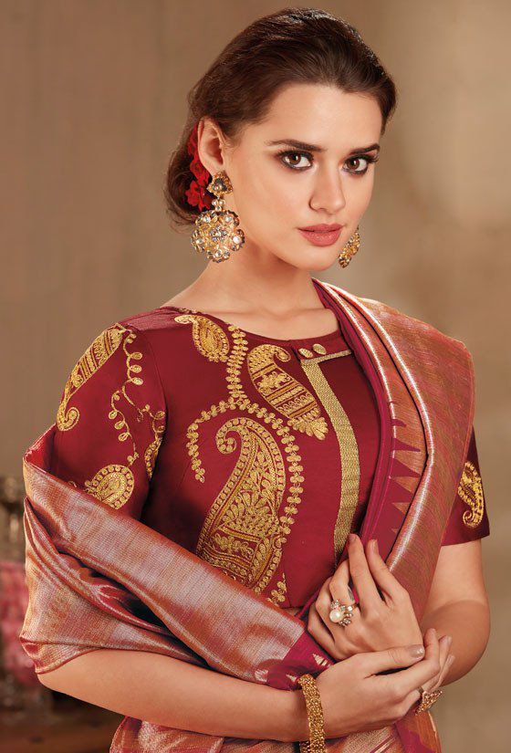 8c88f6bf2d Maroon color silk Indian wedding saree 935 in 2019   Indian Wedding ...