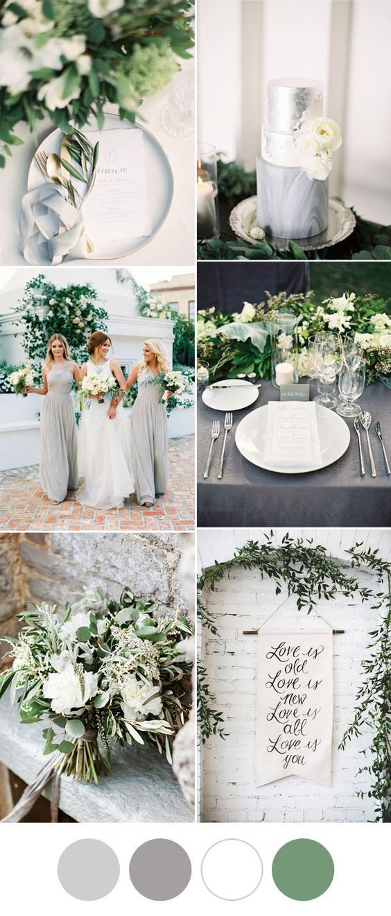 elegant and romantic grey and white greenery wedding ideas
