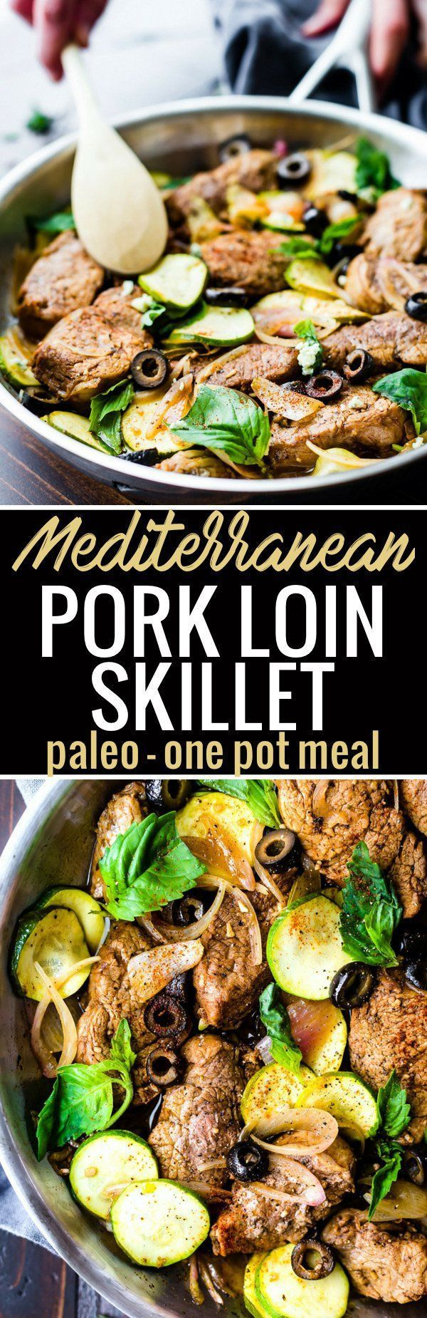 This Mediterranean Marinated Balsamic Pork Loin Skillet with vegetables makes for an easy one pan meal! Veggie Packed, Nourishing, Paleo, and ready 45 minutes. You and your family will love  this flavorful pork loin skillet dish in a tangy balsamic marinade.  http://www.cottercrunch.com