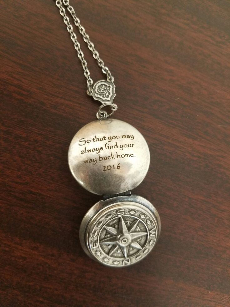 Fiber laser engraved Compass Locket. Graduation gift from some proud parents to their daughter.