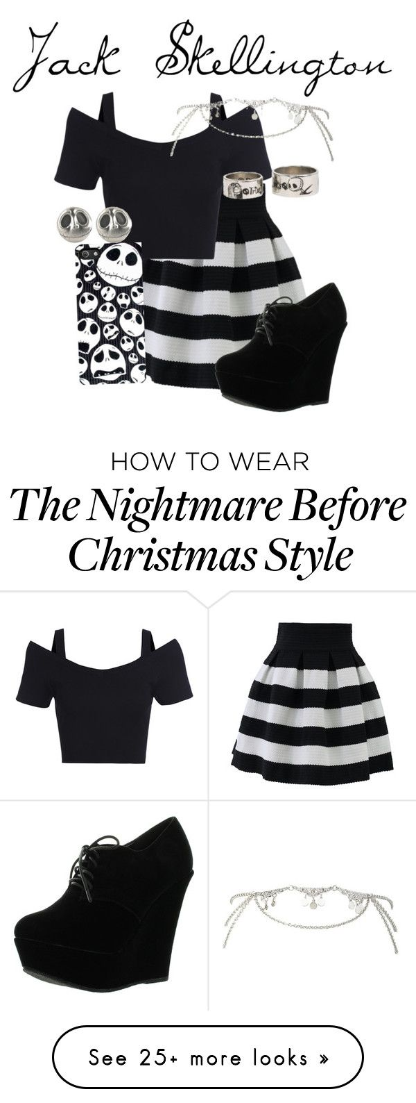 """Jack Skellington"" by disneyfanz on Polyvore featuring Chicwish, Forever Link and Charlotte Russe"